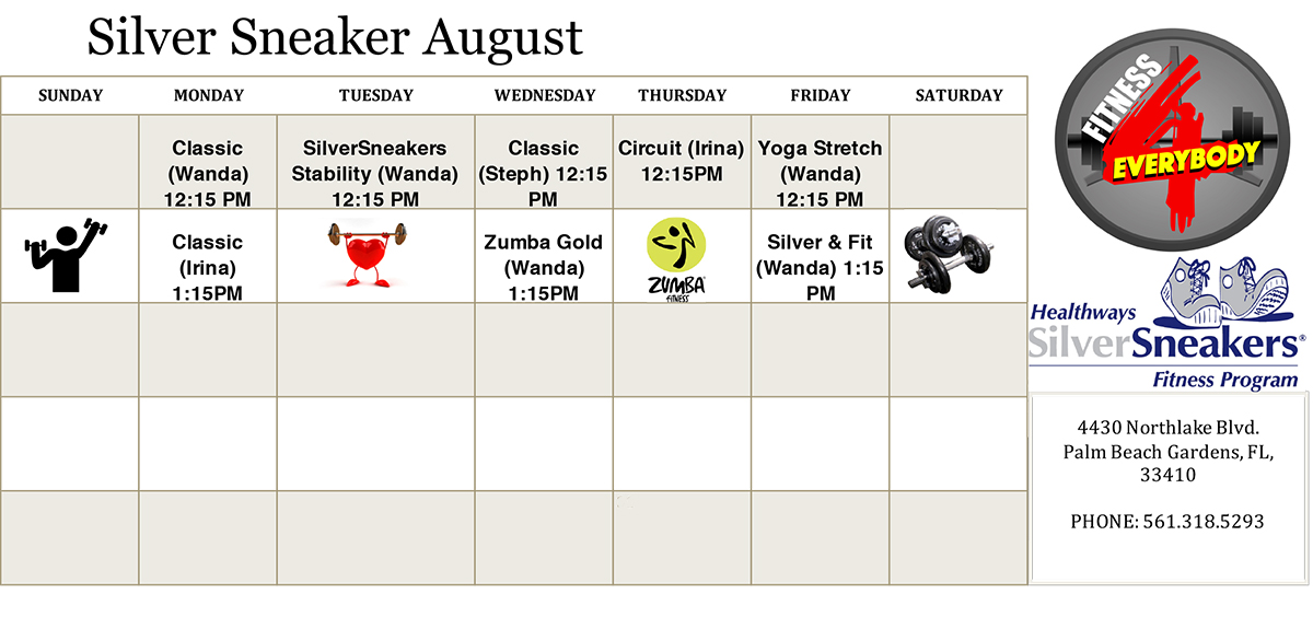 Group Fitness Class Schedule for August 2019