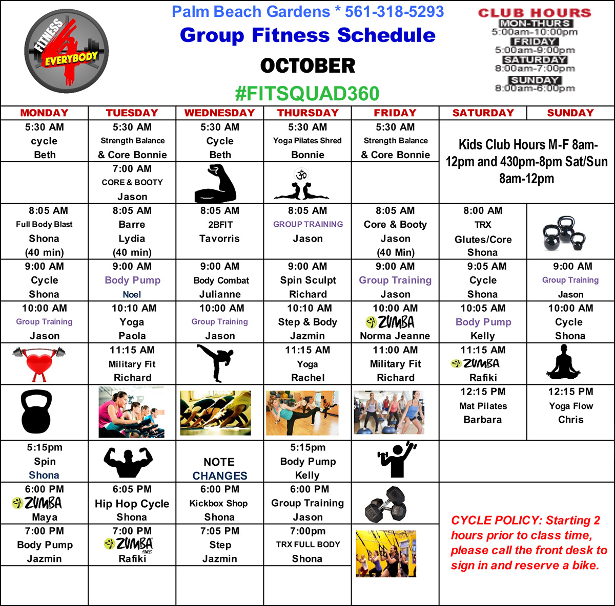 Group Fitness Class Schedule for October 2019