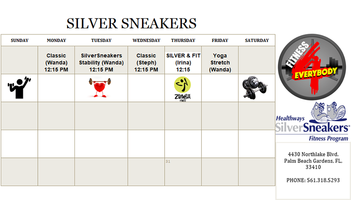Silver Sneakers Class Schedule for October 2019