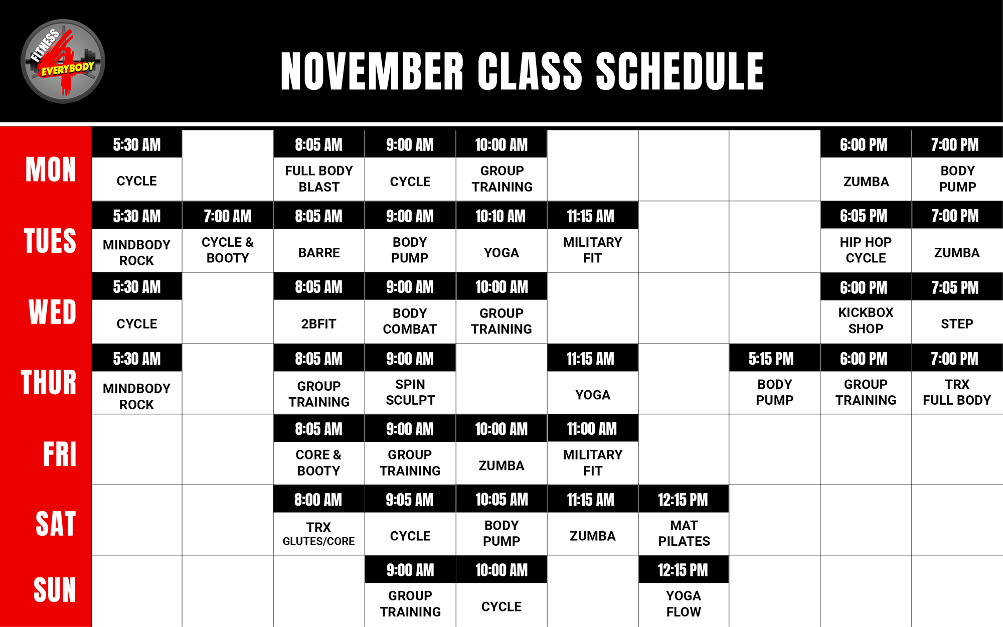 Fitness 4 Everybody Group Fitness Class Schedule for November 2019
