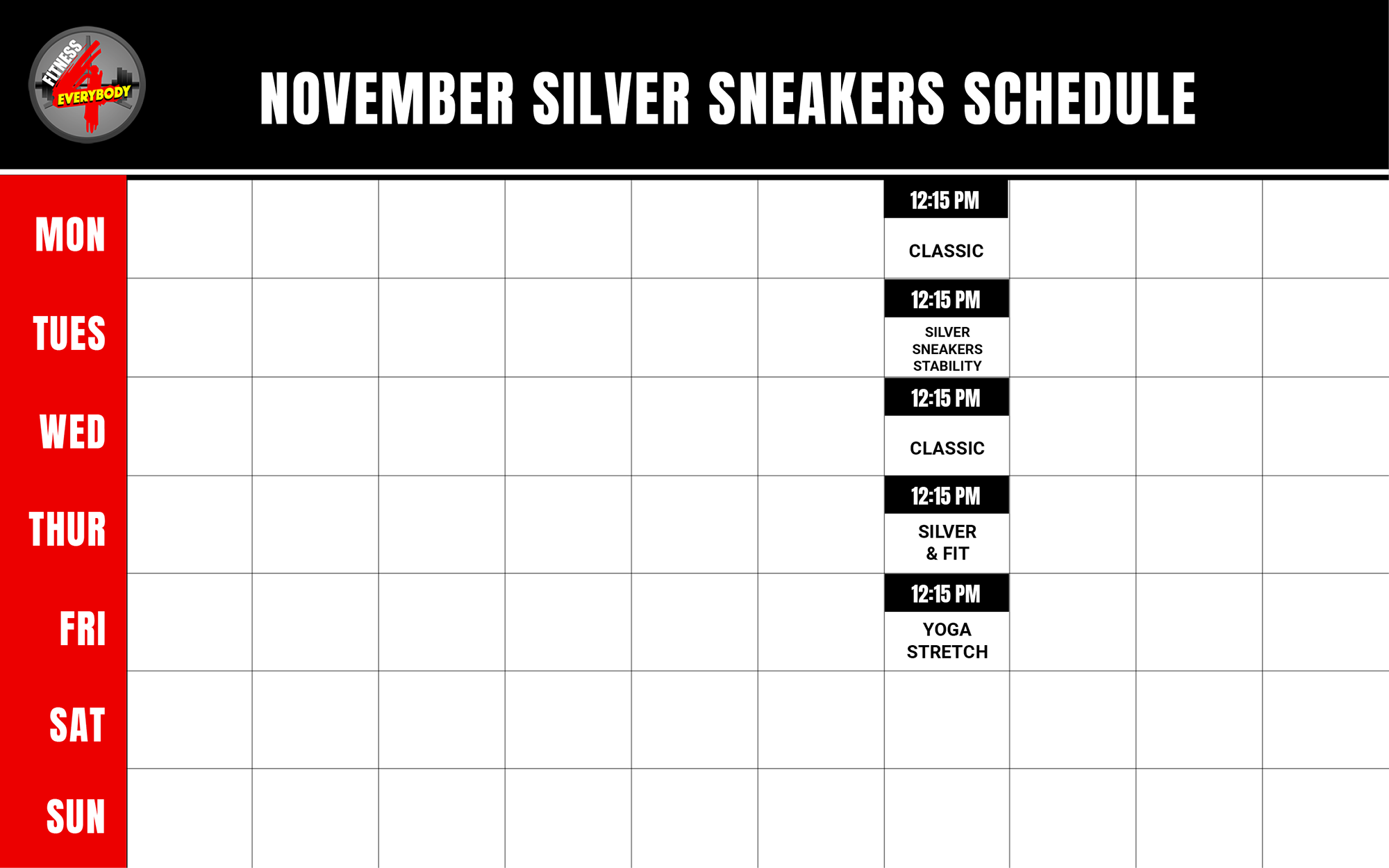 Silver Sneakers Class Schedule for November 2019