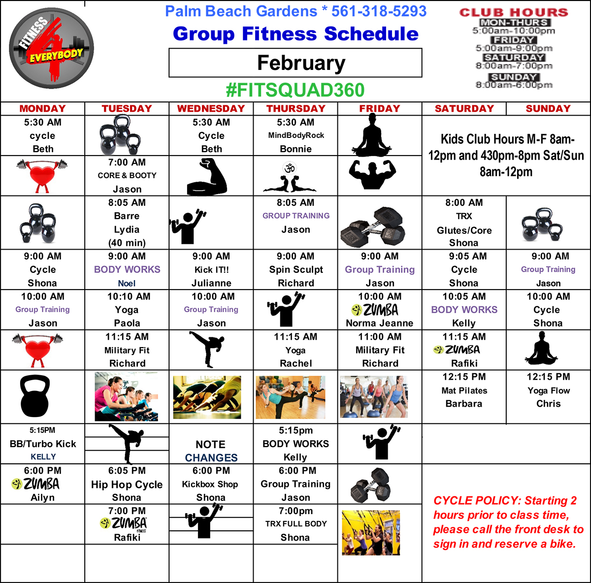 Fitness 4 Everybody Group Fitness Class Schedule for February 2020