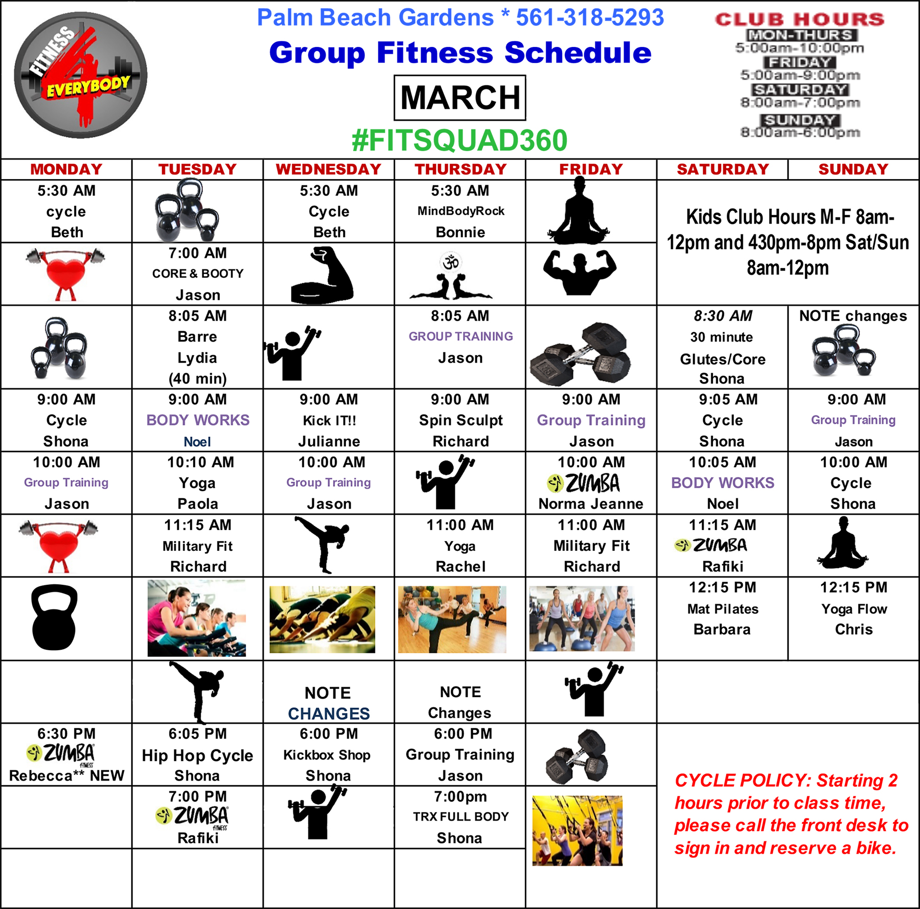 Fitness 4 Everybody Group Fitness Class Schedule for March 2020
