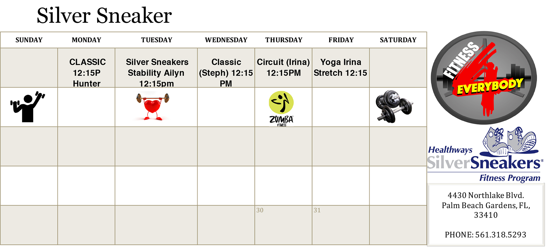 Silver Sneakers Class Schedule for March 2020